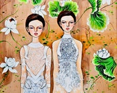 """Givenchy Fall 2011 Couture - ORIGINAL 20""""x33"""" painting"""