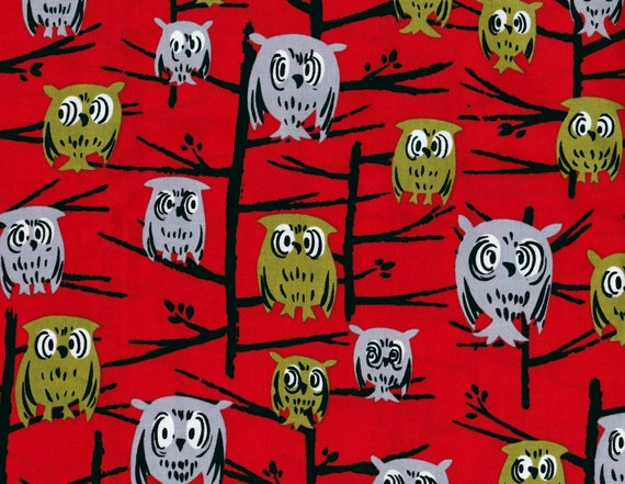 Michael Miller Fabric Fat Quarter Tammis Keefe Hoot Red
