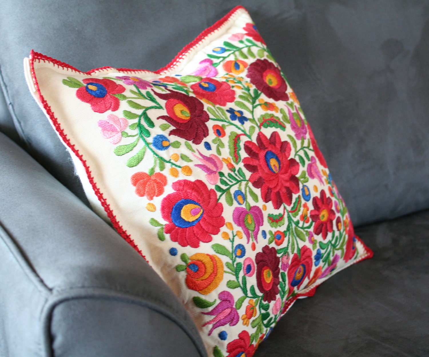 Mexican hand embroidered pillow cover by vintagefoundnyc