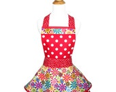 Lovely Aprons - Red Polka Dot Sun Flower Full Cute Kitchen Apron