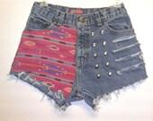 High Waist Denim Shorts Southwestern with Studs Waist 27 inch