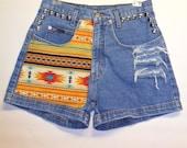 High Waist Denim Shorts Southwestern with Studs Waist 29 inch