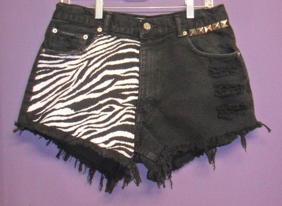 High Waisted Black Denim Shorts with Zebra Print   front & Back --Waist 32