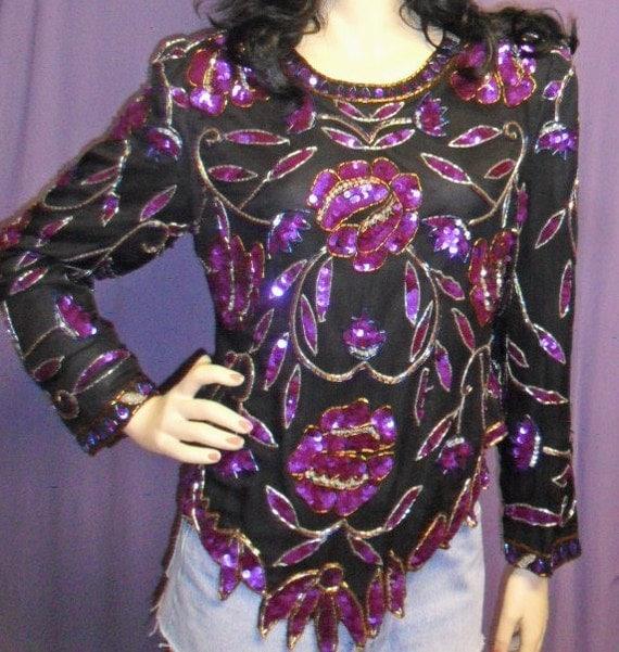 Vintage  Black Silk -Purple Sequins -Beaded Blouse -Laurence Kazar---Sz M- L