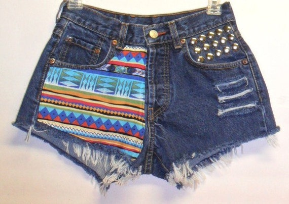 Lucky Brand Button Fly  Shorts Tribal Print  with Studs XS -- Sz 0