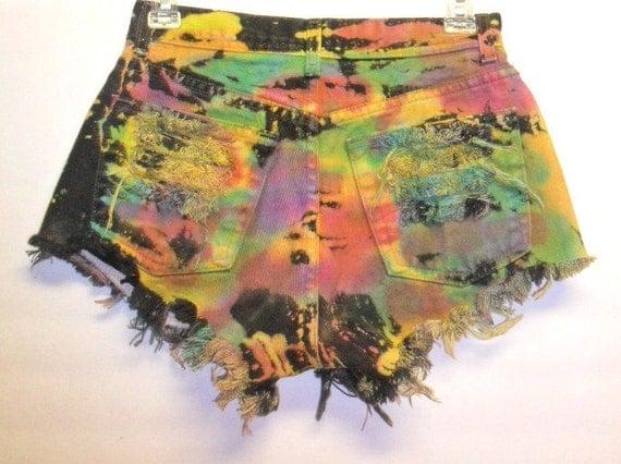 Tie Dye Denim Shorts with Studs Waist 26 inch