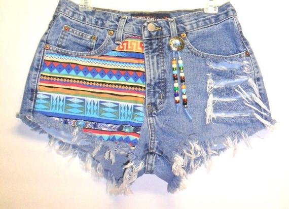 Cute Denim Shorts Tribal Print with Beads Sz 8