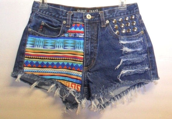 GUESS Low Rise Denim Shorts Tribal Print  with Studs Sz 28