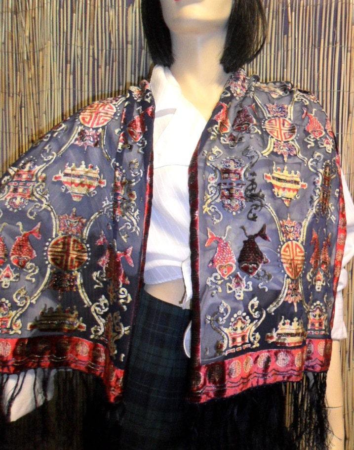 Vintage VelvetSilk Burnout Fringed Neck Scarf with Oriental Designs Silk Scarves Oriental Designs