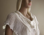 White Dove in Flight - Hand Knitted CAPELET / Wedding Shawl / Wedding Capelet / Cable Knit / Pearl Beads / Crochet Button / 30% OFF !!!