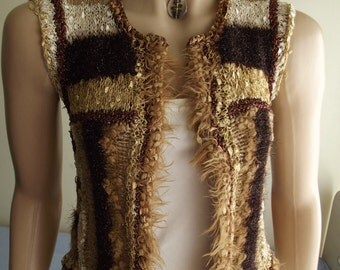 COWGIRL - Custom Order - Hand Knitted VEST / Sleeveless Vest / Airy Vest / Soft Vest / Light Vest / Ribbon Cord /  Multicolor Vest