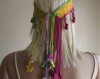 CUSTOM Order - Anatolia Style Version 1 - CROCHET HEADBAND / Crochet Cords / Crochet Flowers / Crochet Head Band / Spring Summer