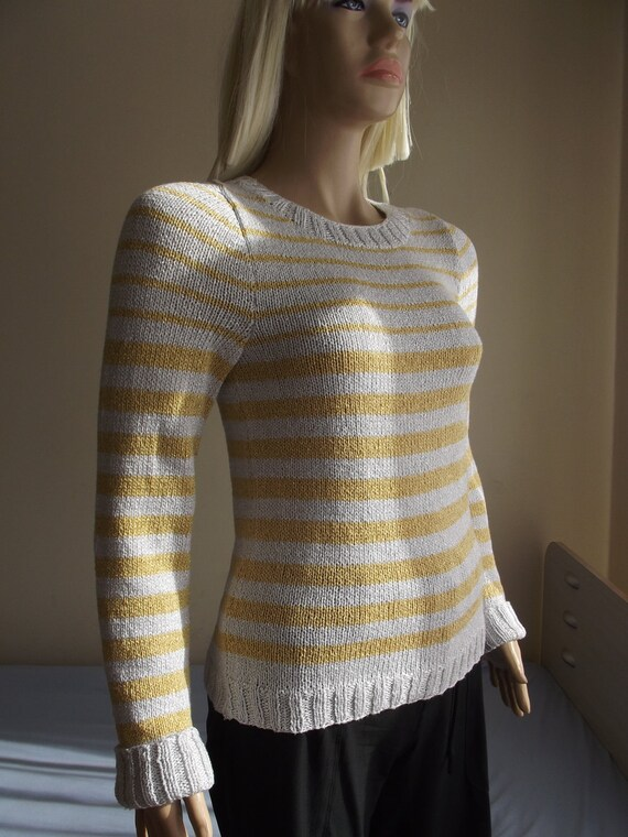 Continuum - Hand Knitted Sweater / STRIPPED Sweater / Long Sleeve / Round Neck / Gold Silver Sweater / Spring Autumn / OOAK / 50% OFF !!!