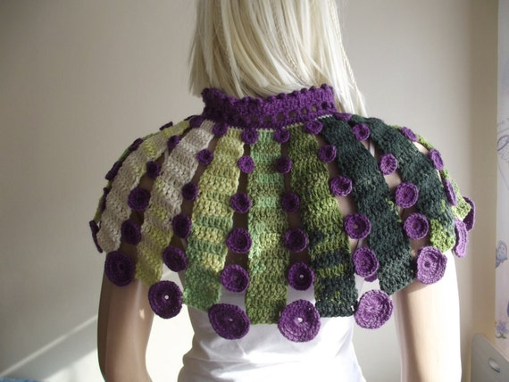DOTTED CAPELET - Crochet Capelet / Dotted Shawl / Capelet with Dots / Crochet Drawstring / Dotted Drawstring / Multi Color / 30% OFF !!!