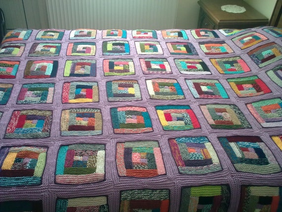 Reserved for Jill - RAINBOW - Hand Knitted Blanket / Afghan Blanket / Large Blanket / Cotton Lining