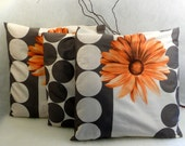 Pillow covers orange flowers white &grey points