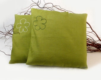 Green pillow covers, embroidered flowers, cushion case