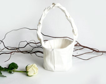 Flower Girl Basket - bridal - bride - white