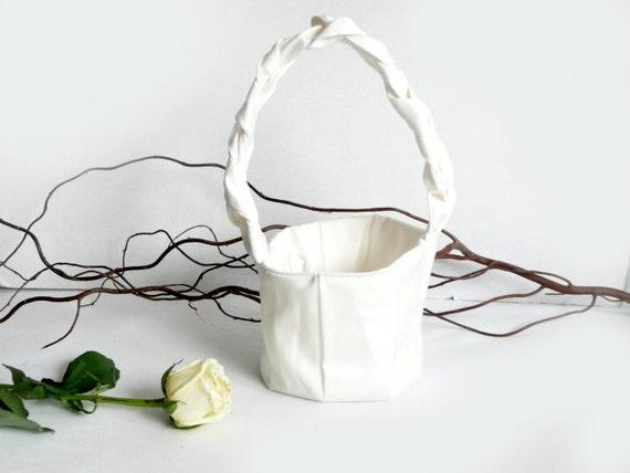 Flower Girl Basket - bridal - bride - white