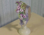 Dollhouse miniature silk bonnet 1/12 scale. made by Snowflake Miniatures