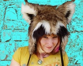 Raccoon Animal Hat with Earflaps and Pom Poms, made to order
