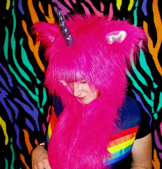 Pink Unicorn Animal Hood Hat/Scarf, Also avail in White, Purple, Yellow, Black, made to order