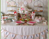 Tea Party Printables - DIY Party Supplies and Decorations - Complete set - Customizable - PressPrintParty