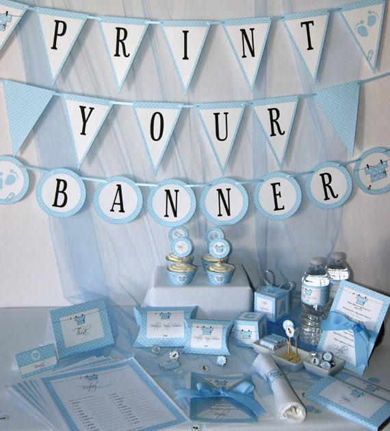 Baby shower printables baby boy blue diy party supplies for Baby shower decoration stores