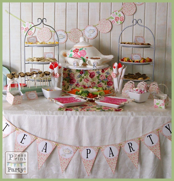 tea party printables diy party supplies and decorations