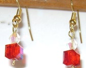 earrings with red cube crystals and clear crystals