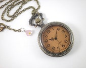 Watch Locket Pendant Antiqued Brass Champagne Glass Clock Necklace