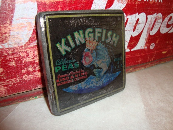 "NOVELTY Vintage ""King Fish Peas""  Label Slate Tile Coaster (1) or MIX-N-MATCH to create your own set"
