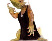 Come here, Big Boy (8x10 archival print of a bearded dragon in a black dress)
