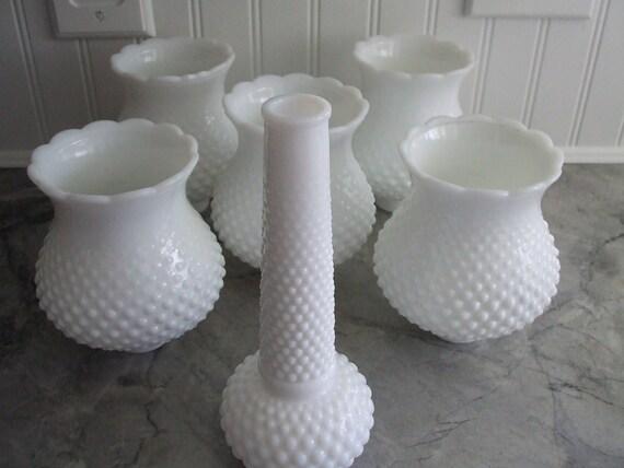 Chandelier globes Fenton hobnail milk glass set of 6 vintage