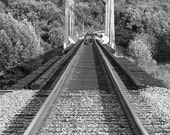 Black and White Train Tracks Lead Across Bridge, Around Bend Into Distance - Travel, Journey, Destination 8x10 B&W Fine Art Photography
