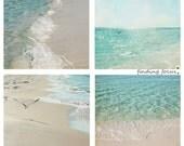 Beach Photography Set - 4 Seashore Aqua & Tan Prints of Summer Blue Waves, Seagulls and Powdery Sand - four 5x5 Coastal Fine Art Photographs