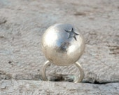 sterling silver ball with star ring, adjustable ring