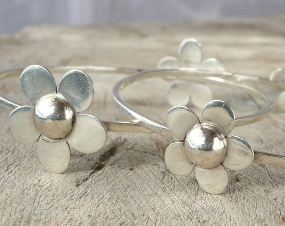 sterling silver daisies  bangles