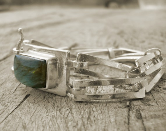 sterling silver bracelet with labradorite  FREE SHIPPING
