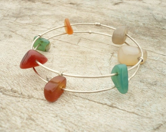 sterling silver bracelets with agates beads  FREE SHIPPING