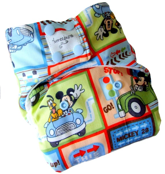 Mickey Mouse Cars One Size Cloth Diaper with PUL Snaps Bamboo Organic Cotton - Newborn Toddler Boys Girls Gender Neutral