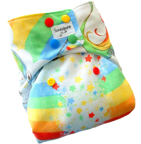 Rainbow Brite One Size Cloth Diaper with PUL Bold Colored Snaps Bamboo Organic Cotton - Newborn Toddler Girls