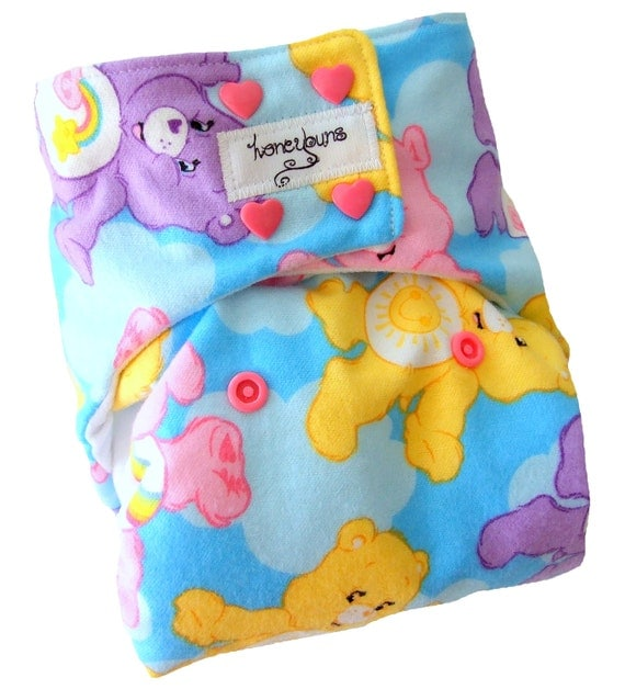 Care Bears One Size Cloth Diaper with PUL Pink Heart Snaps Bamboo Organic Cotton - Newborn Toddler Girls
