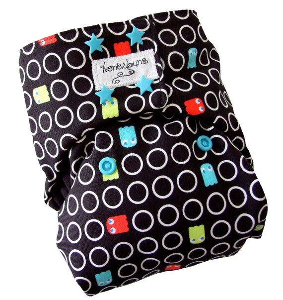 Pacman Black One Size Cloth Diaper with PUL Blue Star Snaps Bamboo Organic Cotton - Newborn Toddler
