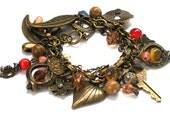 Antiqued Brass Double Chain Chunky Cha Cha Charm Bracelet Rhinestone Czech Glass