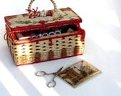 Vintage Sewing Basket, Natural Rope, Red, Shabby Chic, Home Decor, With Extras