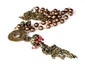 Boho Pendant Necklace Medallion Ethnic Copper Brass Orange Recycled