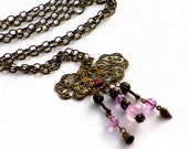 Necklace, Amethyst Antiqued Brass Pendant,Lilac, Amethyst, Steampunk Pendant, Vintage Findings Filigree Beads