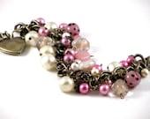 Pink Pearls Brass Heart Locket Cha Cha Charm Bracelet Vintage Laguna Baroque Pearls Pink Glass Beads Filigree