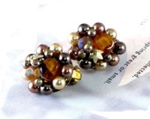 Vintage Bronze Cluster Earrings, Pearls, Brown, Gold, Amber, Marked Japan, Circa 1960, Mad Men